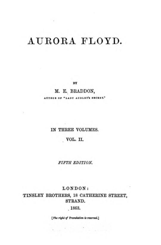 Aurora Floyd, Vol. II (of 3) Fifth Edition