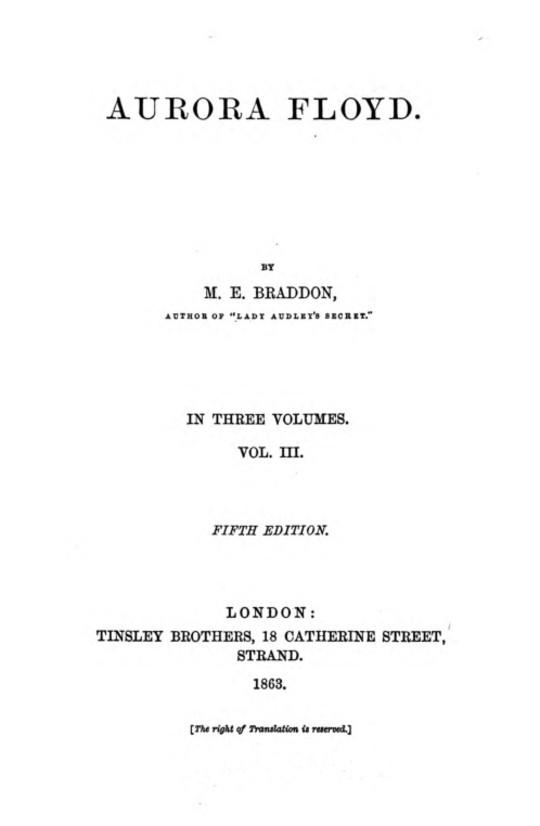 Aurora Floyd, Vol. III (of 3) Fifth Edition