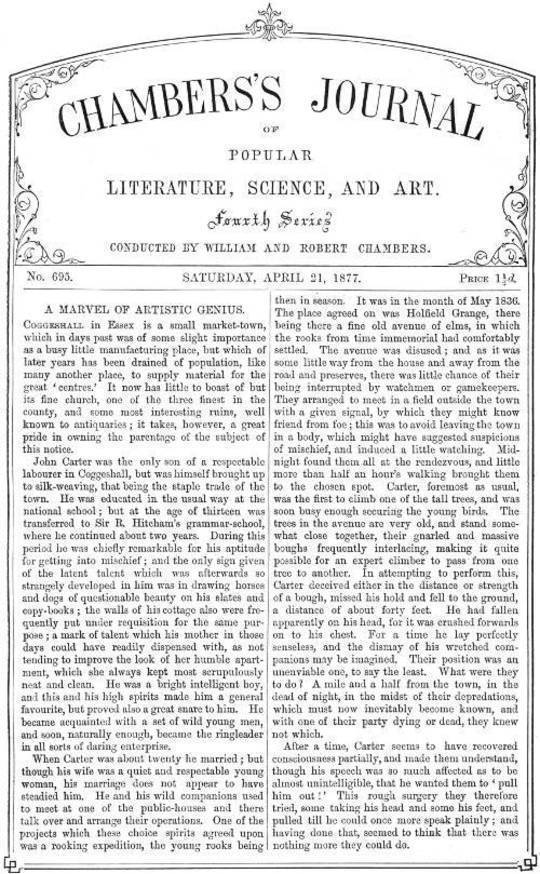 Chambers's Journal of Popular Literature, Science, and Art, No. 695 April 21, 1877.