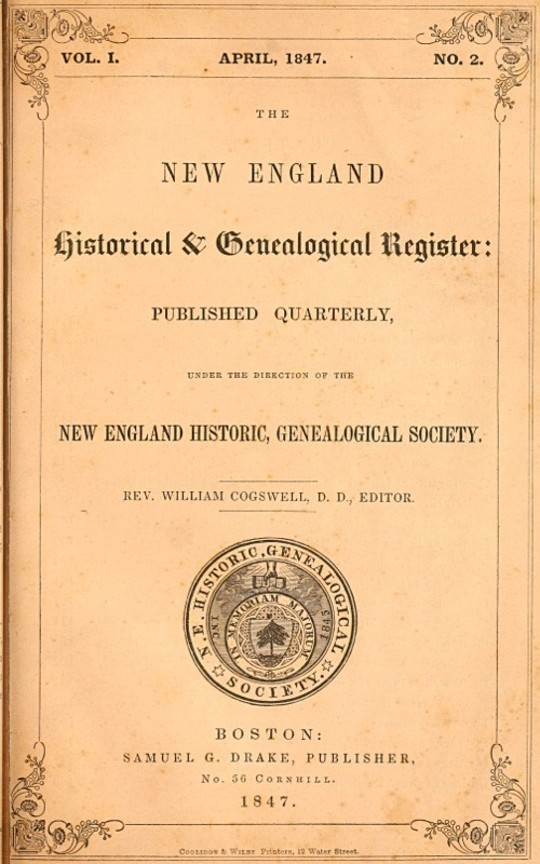 The New England Historical & Genealogical Register, Vol. I., No. 2, April 1847
