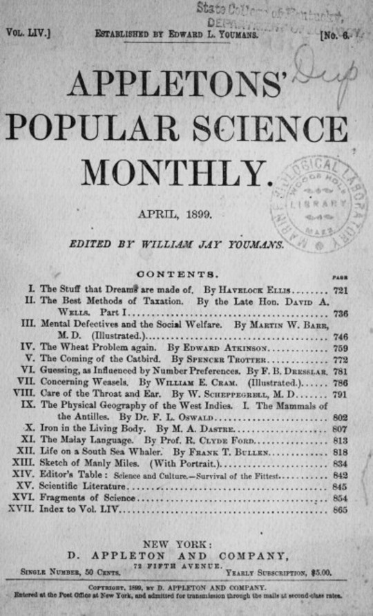 Appletons' Popular Science Monthly, April 1899 Volume LIV, No. 6, April 1899