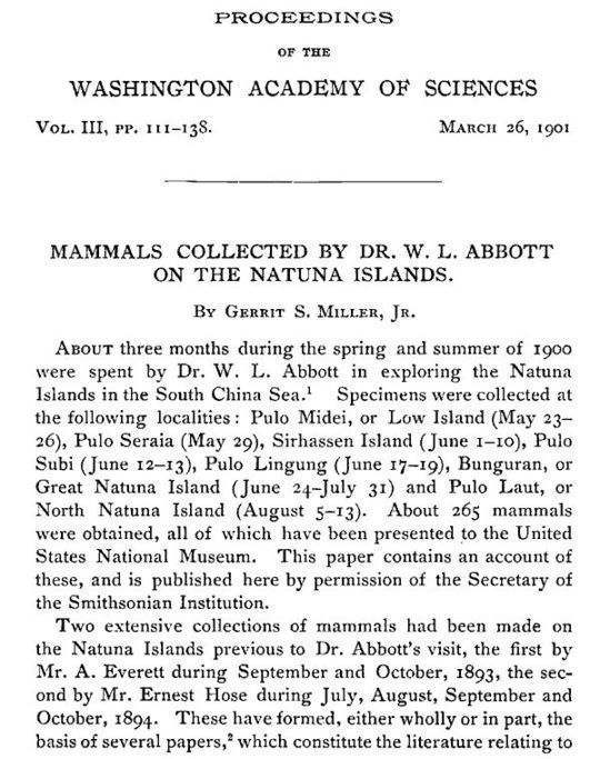 Mammals Collected by Dr. W. L. Abbott on the Natuna Islands Proceedings of the Washington Academy of Sciences, Vol. III, pp. 111-138