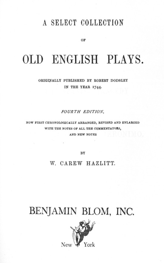 A Select Collection of Old English Plays, Volume 5