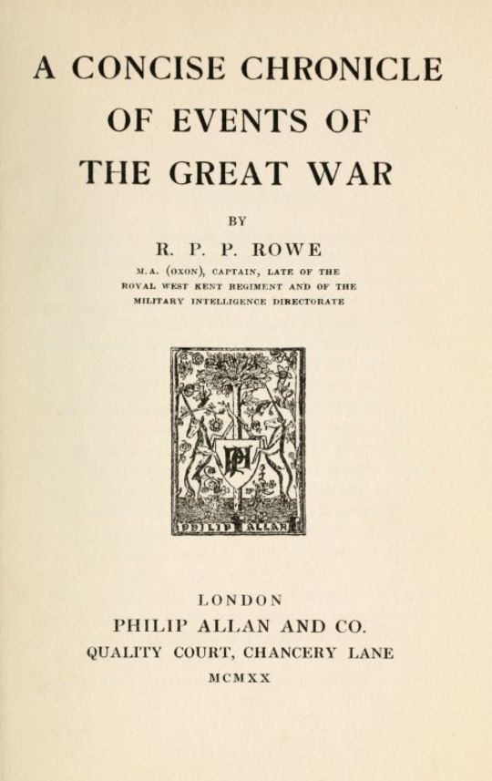 A Concise Chronicle of Events of the Great War