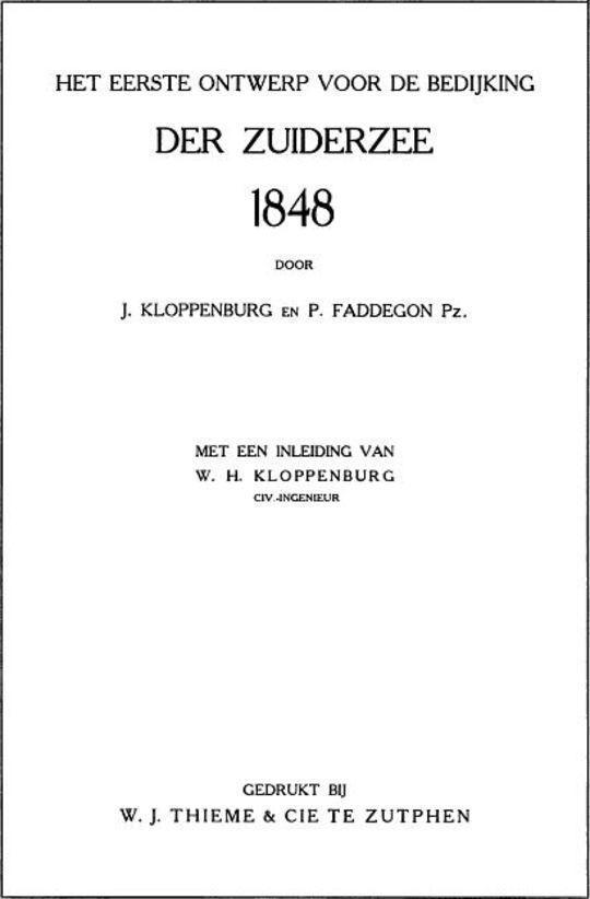 Het eerste ontwerp voor de bedijking der Zuiderzee, 1848