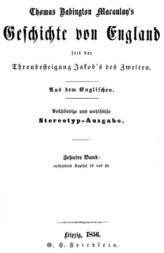 Geschichte von England seit der Thronbesteigung Jakob's des Zweiten. Zehnter Band: enthaltend Kapitel 19 und 20.