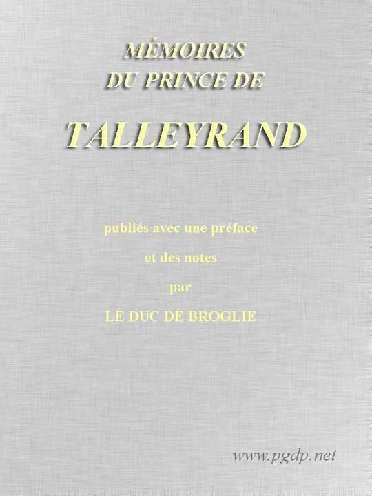 Mémoires du prince de Talleyrand, Volume V (of V)