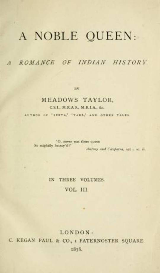 A Nobel Queen A Romance of Indian History