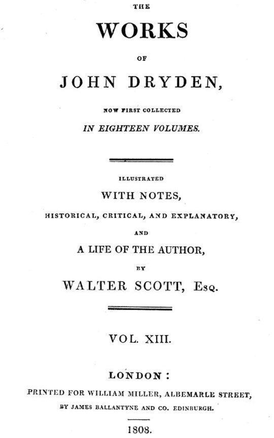 Dryden's Works (13 of 18): Translations; Pastorals