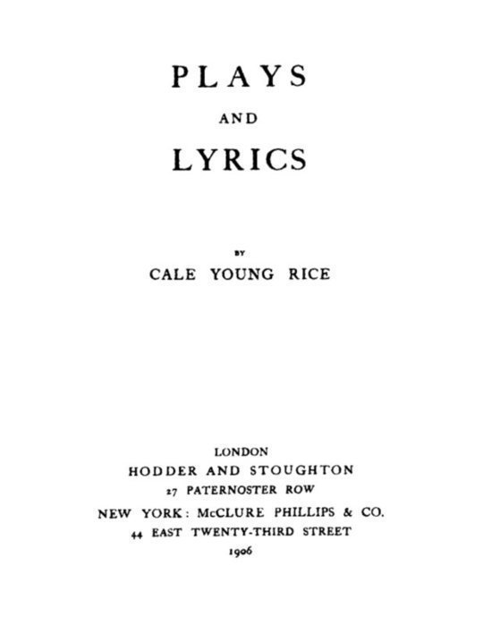 Plays and Lyrics