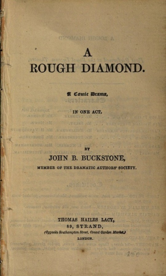 A Rough Diamond A Comic Drama in One Act