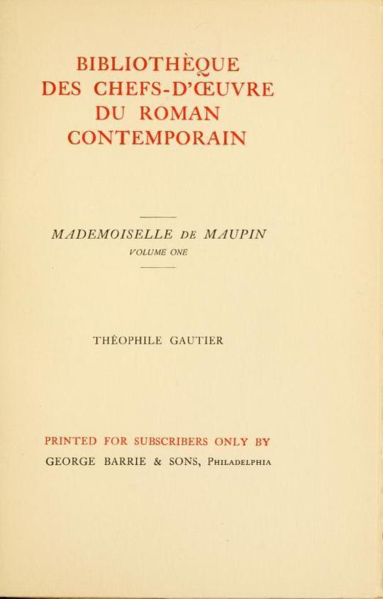 Mademoiselle de Maupin, Volume 1 (of 2)