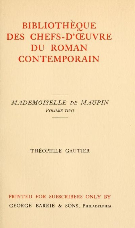 Mademoiselle de Maupin, Volume 2 (of 2)