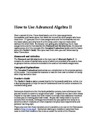 Microsoft Word - How to Use Advanced Algebra II.doc