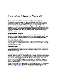 Microsoft Word - How to Use Advanced Algebra II.doc