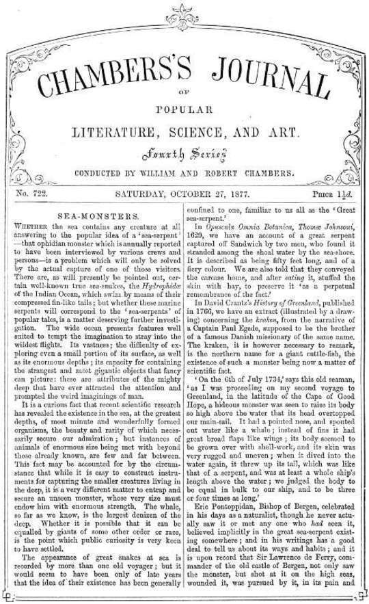 Chambers's Journal of Popular Literature, Science, and Art, No. 722 October 27, 1877