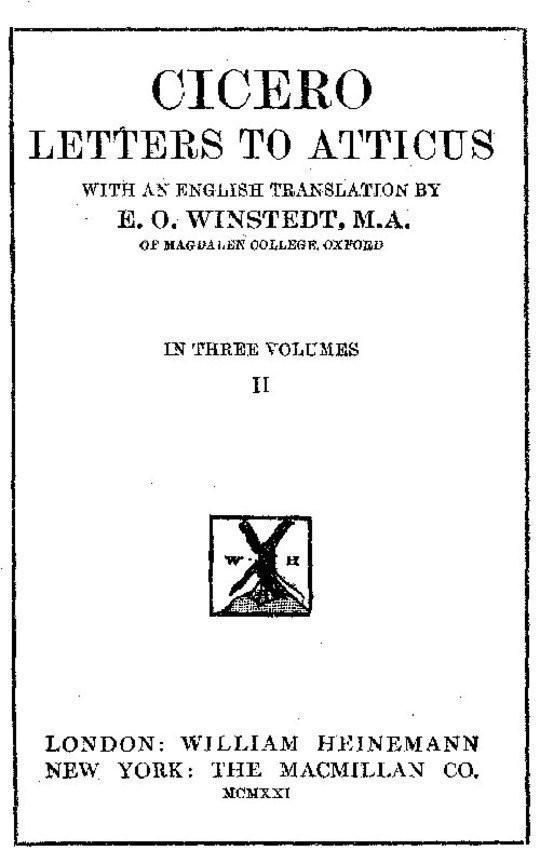 Cicero: Letters to Atticus, Vol. 2 of 3