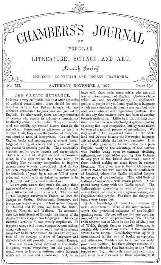 Chambers's Journal of Popular Literature, Science, and Art, No. 723 November 3, 1877