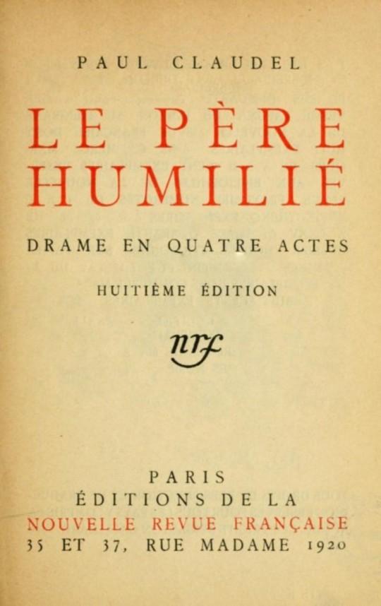 Le père humilié Drame en quatre actes