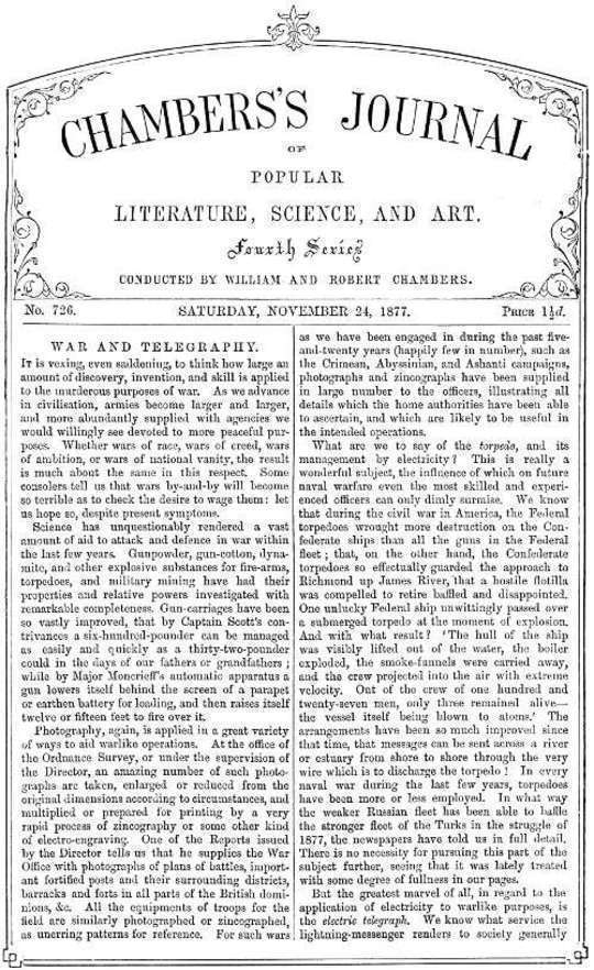 Chambers's Journal of Popular Literature, Science, and Art, No. 726 November 24, 1877