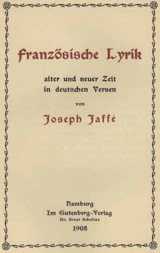 Französische Lyrik alter und neuer Zeit in deutschen Versen