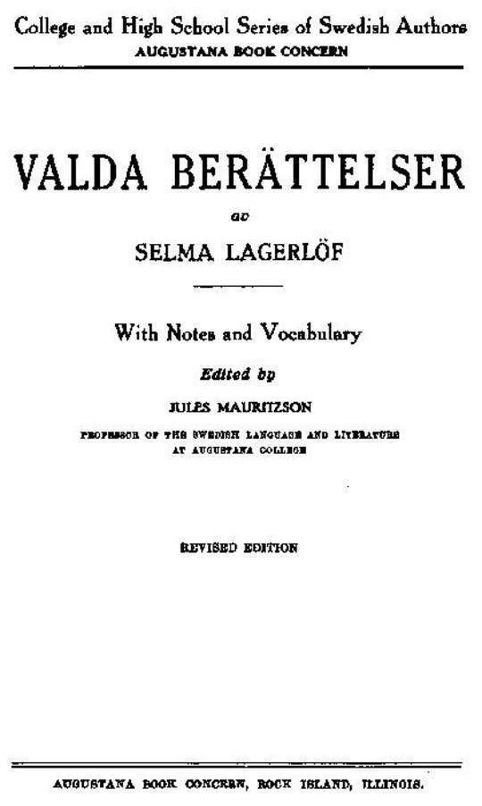 Valda Berättelser av Selma Lagerlöf With Notes and Vocabulary