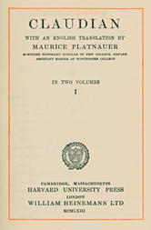 Claudian, volume 1 (of 2) With an English translation by Maurice Platnauer