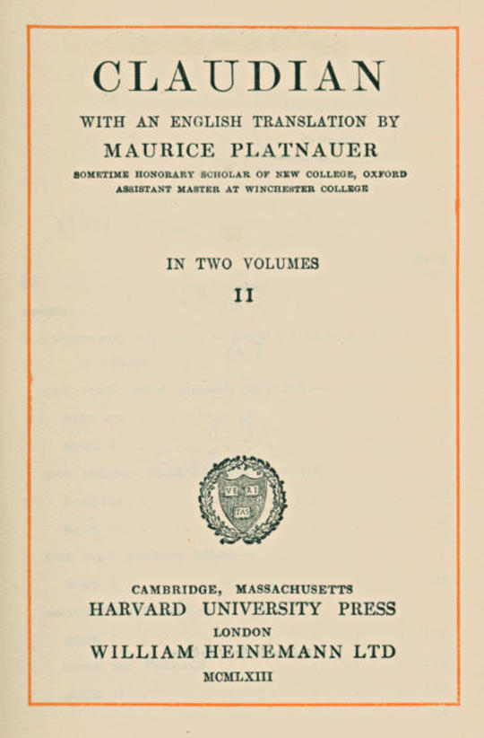 Claudian, volume 2 (of 2) With an English translation by Maurice Platnauer