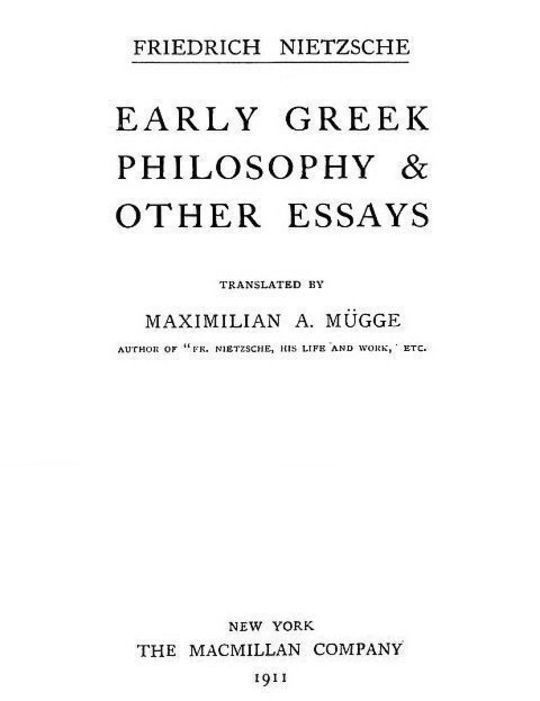 Early Greek Philosophy & Other Essays Collected Works, Volume Two