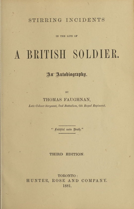 Stirring Incidents In The Life of a British Soldier
