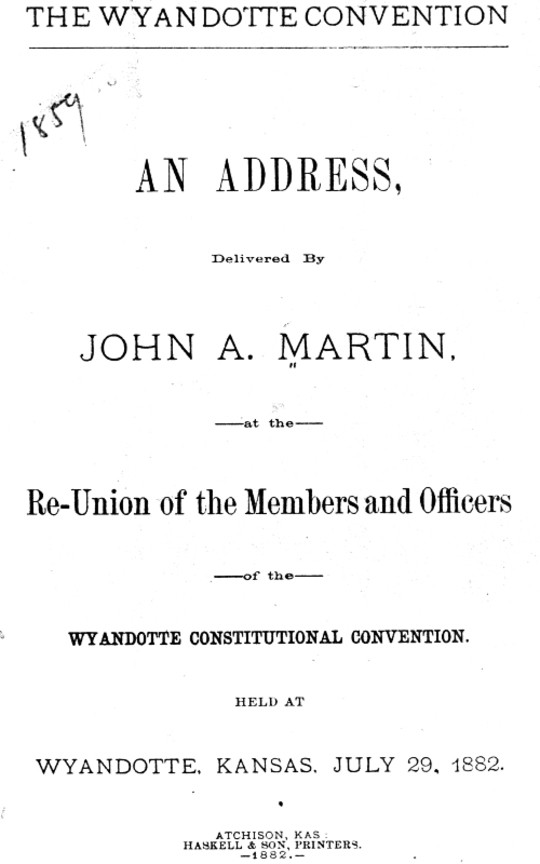 The Wyandotte convention; an address