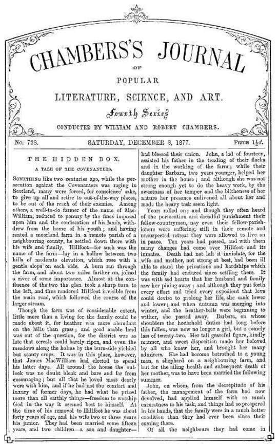Chambers's Journal of Popular Literature, Science, and Art, No. 728, December 8, 1877