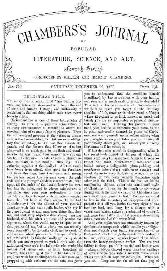 Chambers's Journal of Popular Literature, Science, and Art, No. 730 December 22, 1877
