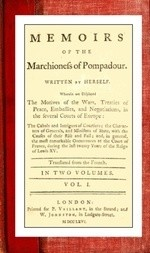 Memoirs of the Marchioness of Pompadour (vol. 1 of 2)