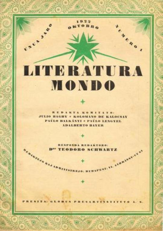 Literatura Mondo, numero 1, 1922 Oktobro