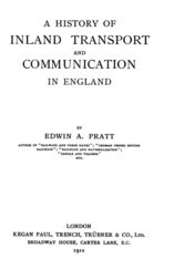 A History of Inland Transport and Communication in England
