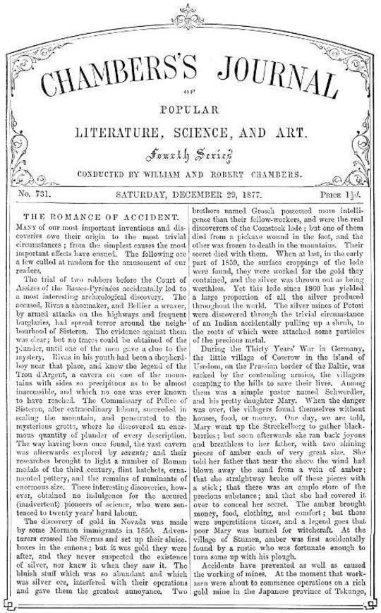 Chambers's Journal of Popular Literature, Science, and Art, No. 731 December 29, 1877