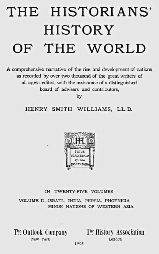 The Historians' History of the World in Twenty-Five Volumes, Volume 2 Israel, India, Persia, Phoenicia, Minor Nations of Western Asia