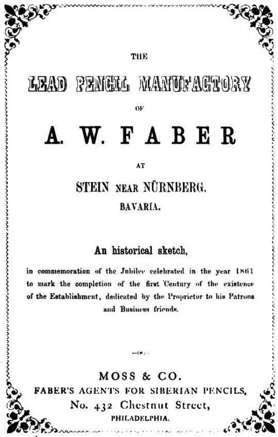 The Lead Pencil Manufactory of A. W. Faber at Stein near Nürnberg, Bavaria