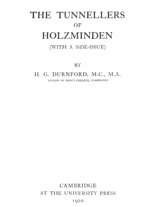 The Tunnellers of Holzminden (with a side-issue)