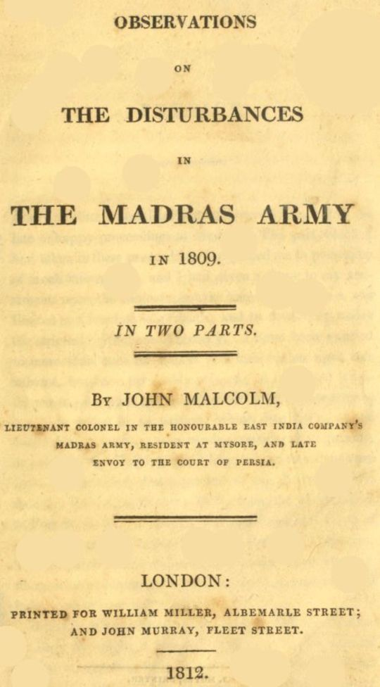 Observations on the Disturbances in the Madras Army in 1809