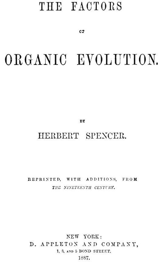 The Factors of Organic Evolution