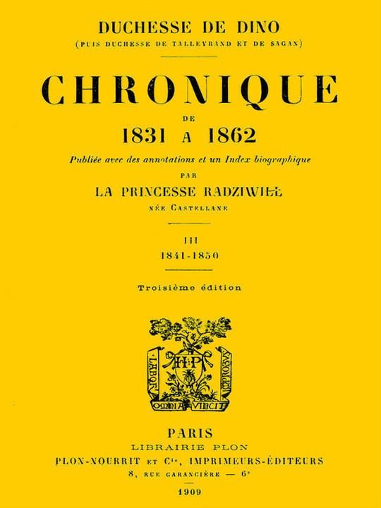Chronique de 1831 à 1862, Tome 3 (de 4)