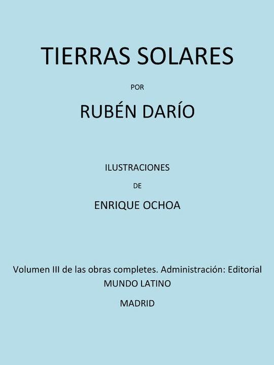 Tierras Solares Volumen III de las obras completas
