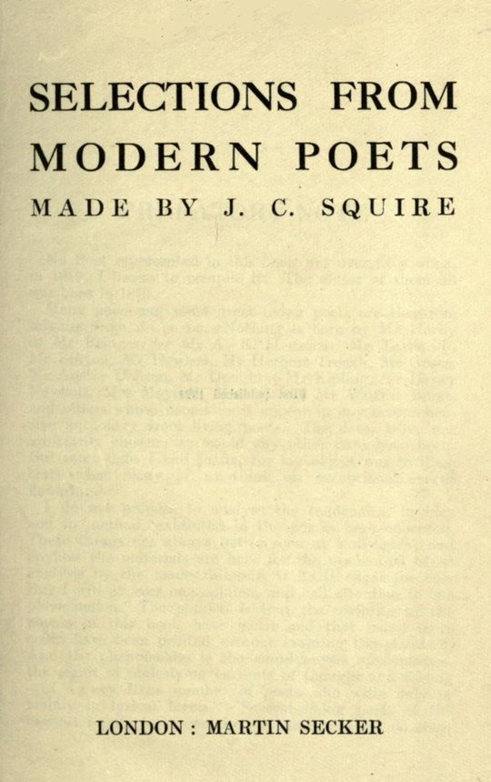Selections from Modern Poets Made by J. C. Squire - Sassoon, Joyce, Graves...