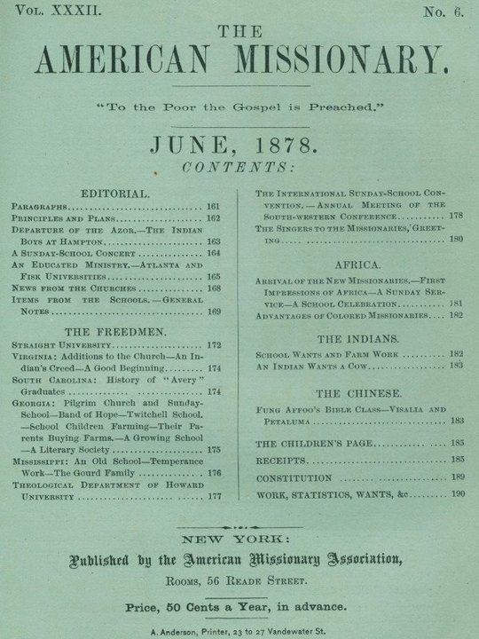 The American Missionary — Volume 32, No. 06, June, 1878