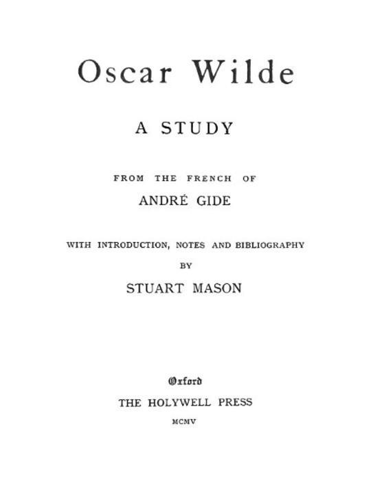 Oscar Wilde, a study