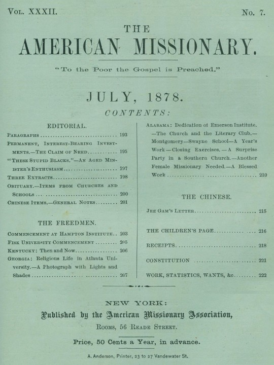 The American Missionary — Volume 32, No. 7, July 1878