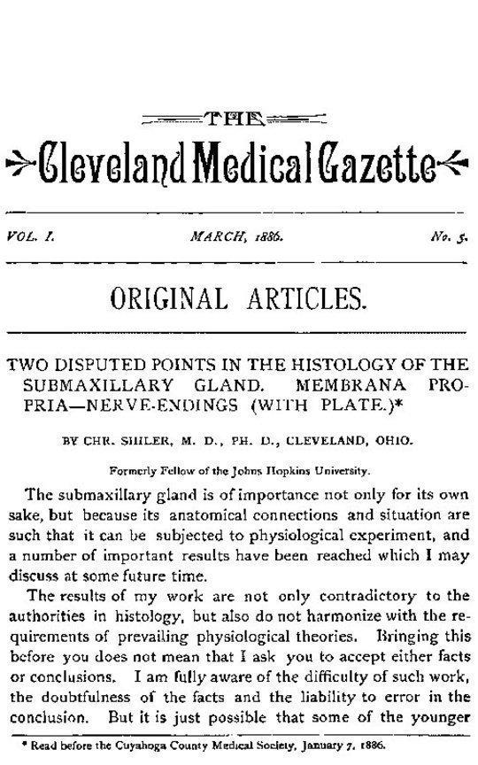 The Cleveland Medical Gazette, Vol. 1, No. 5, March 1886