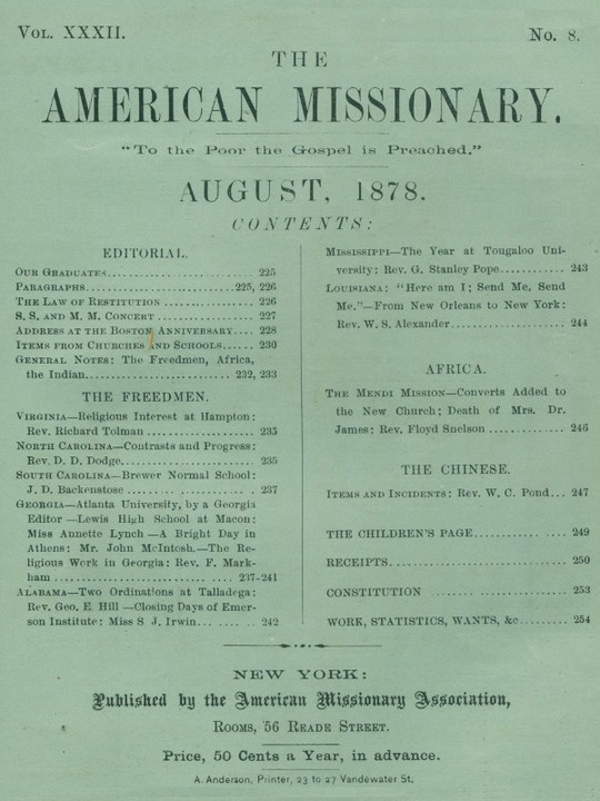 The American Missionary — Volume 32, No. 8, August, 1878